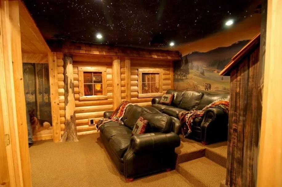Desain Home Theater Bergaya Rustic